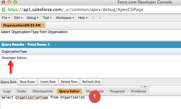 Check Salesforce Edition from Developer Console