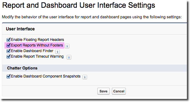 Salesforce Turn Off Footer on Report -> Export