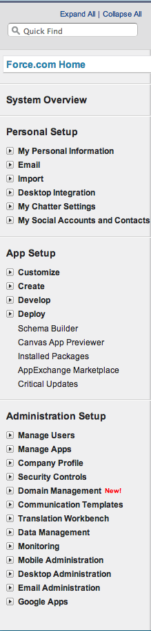 Salesforce Setup Menu Before Summer 13